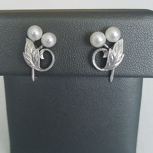 Mikimoto Pearl Silver Screw Back Earrings